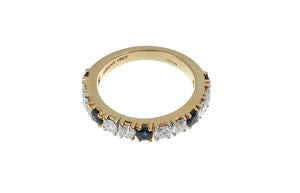 18ct Yellow Gold Blue Sapphire & Diamond Dress Ring, Minar Jewellers - 4