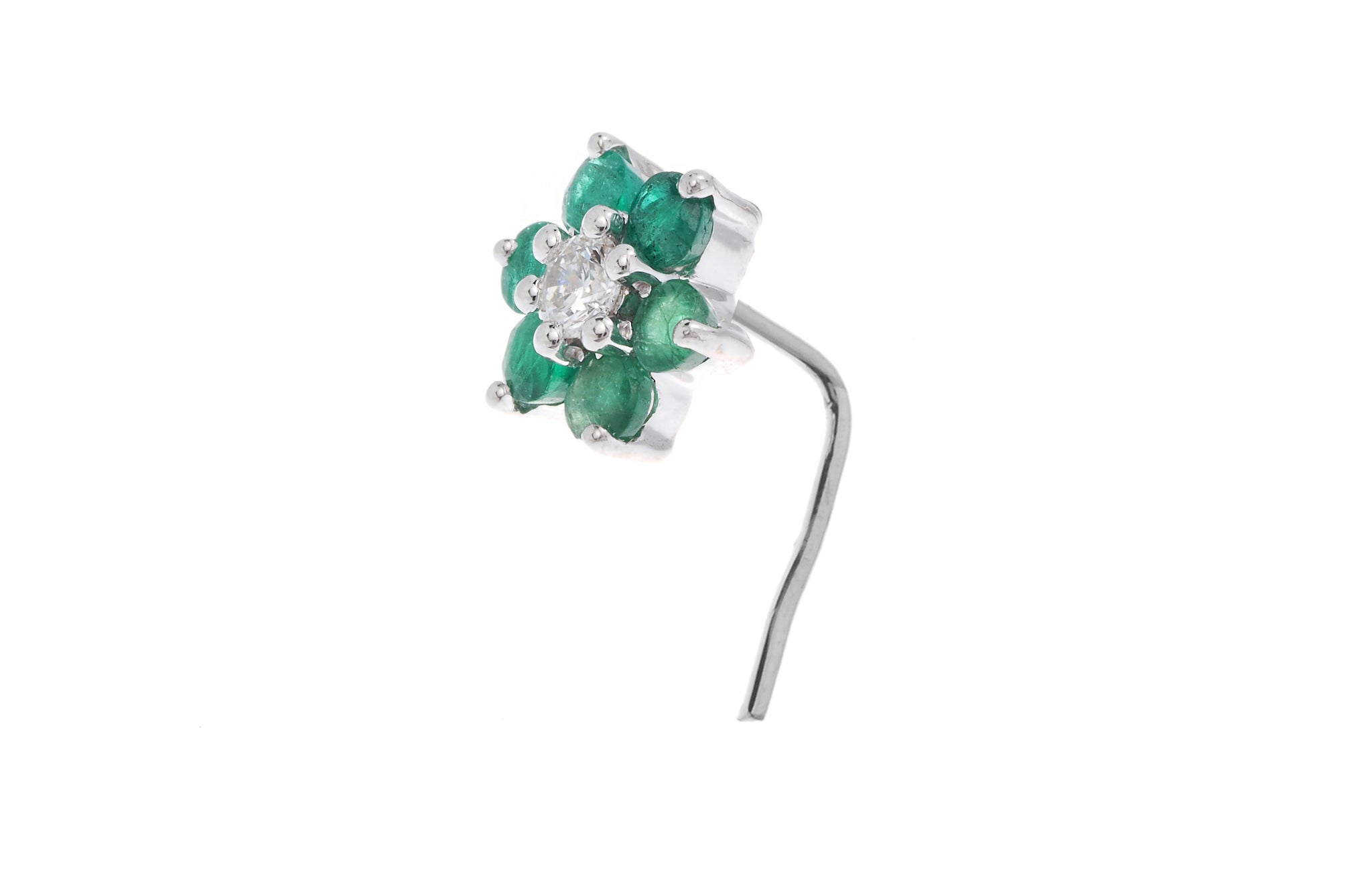 18ct Gold Diamond and Gemstone L-shape Back Nose Stud MCS2082 MCS2083