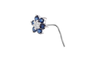 18ct White Gold Diamond and Blue Sapphire Wire Coil or L-shape Back Nose Stud (MCS2083)