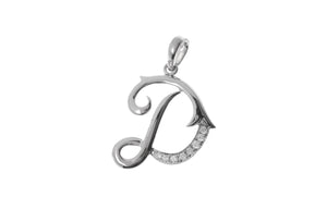 18ct White Gold Diamond 'D' Initial Pendant (MCS2088)