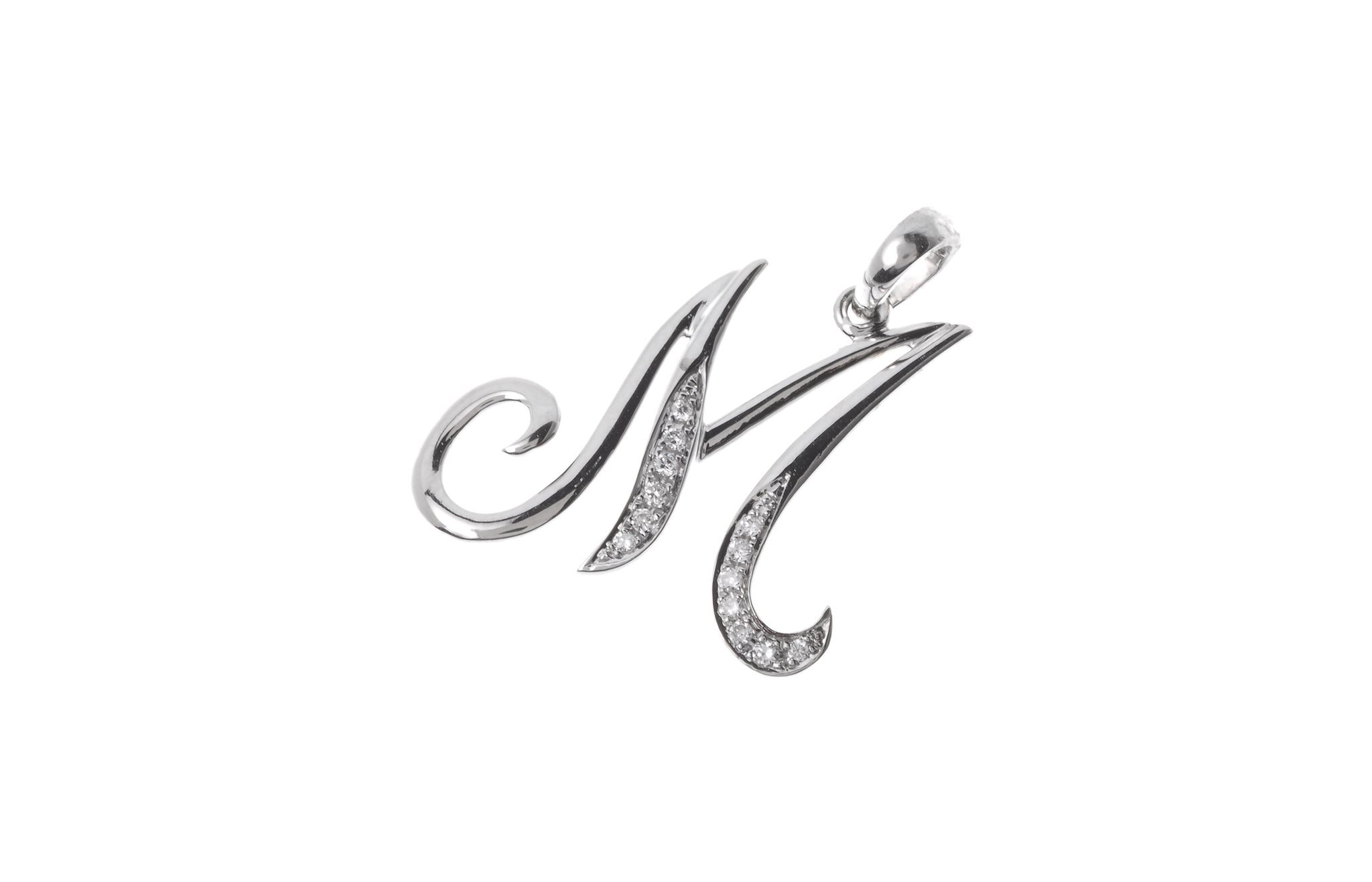 18ct White Gold Diamond 'M' Initial Pendant (MCS2091)