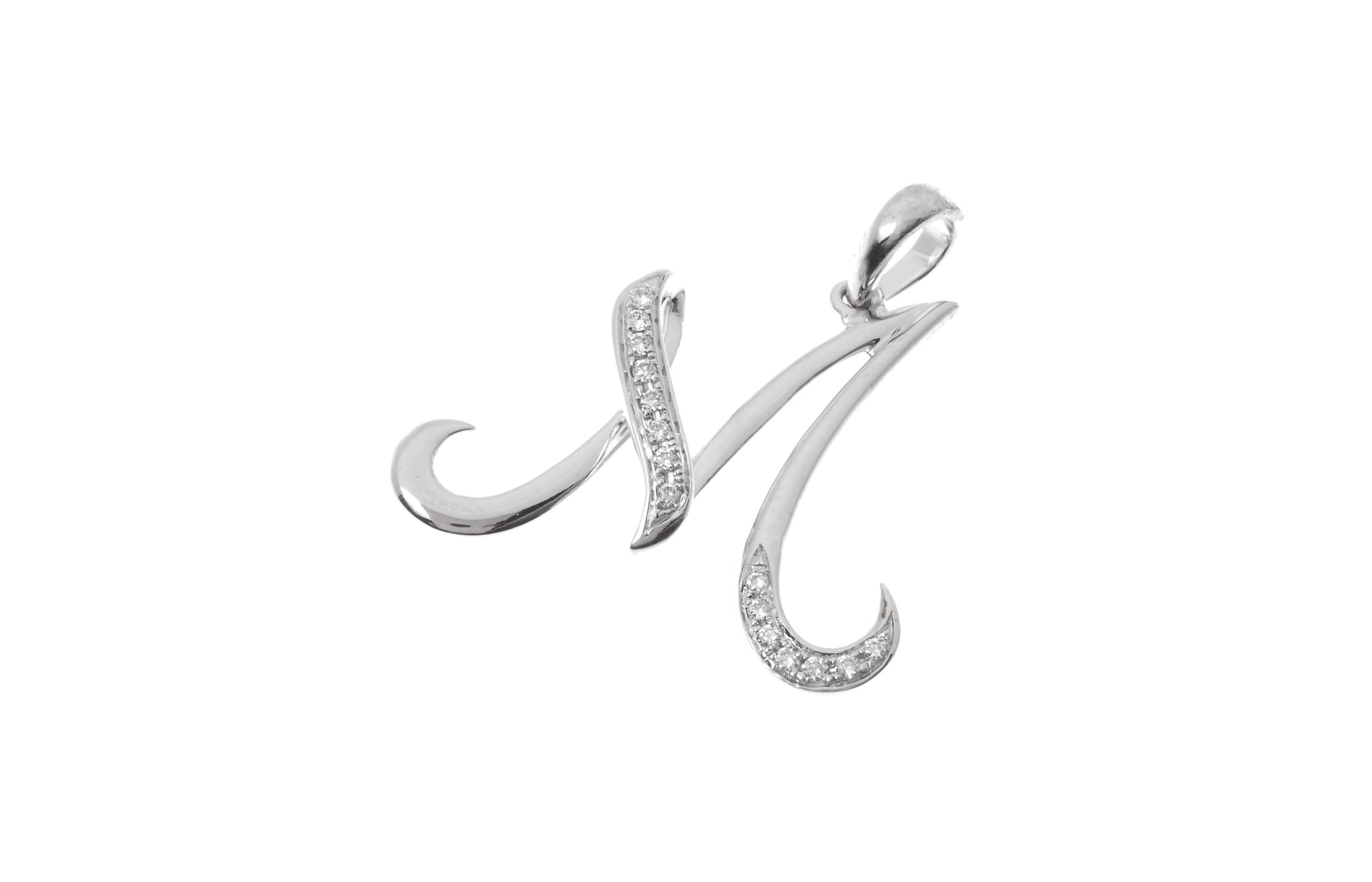 18ct White Gold Diamond 'M' Initial Pendant (MCS2092)