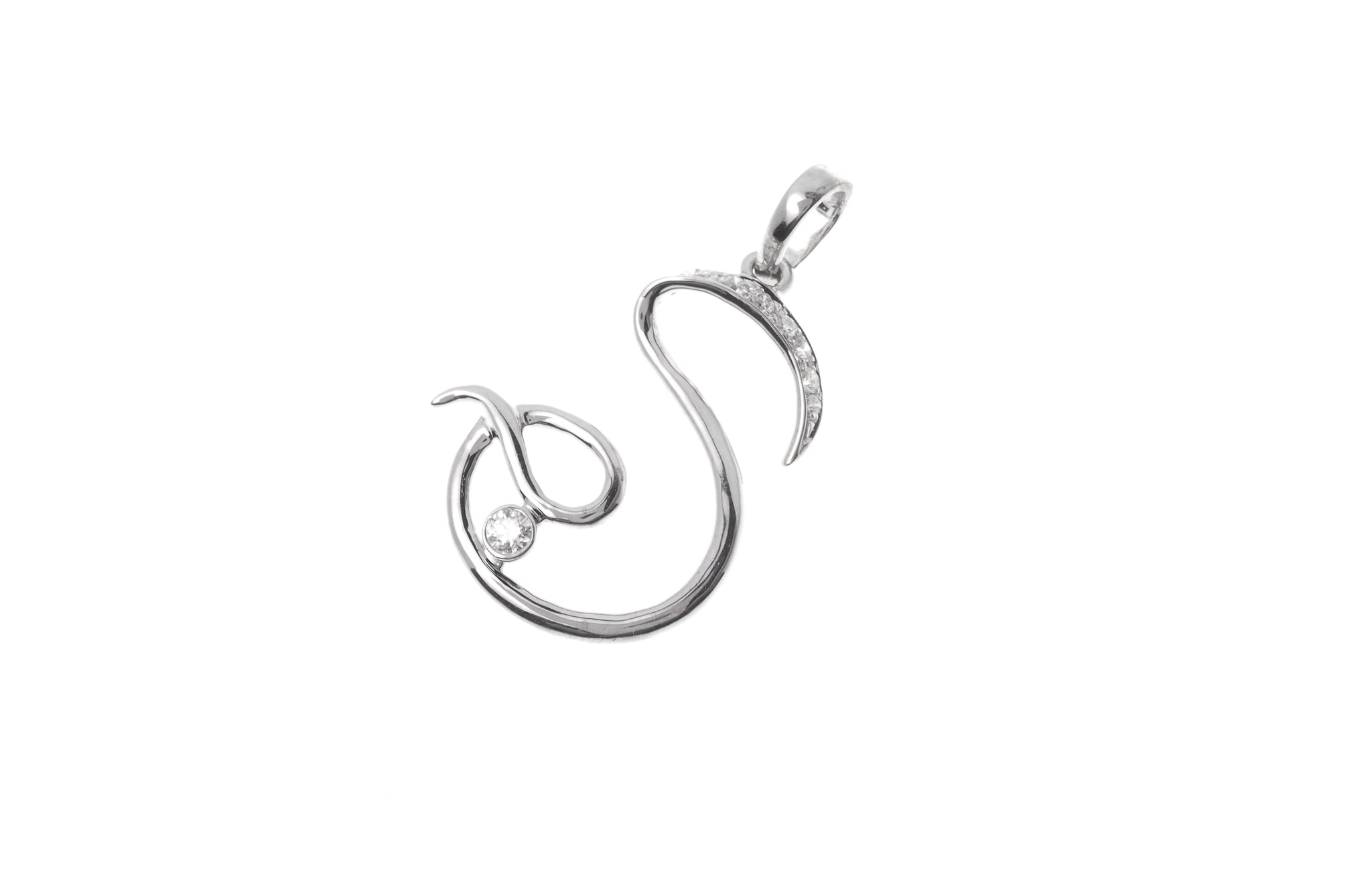 'S' Initial Pendant 18ct White Gold Diamond MCS2097