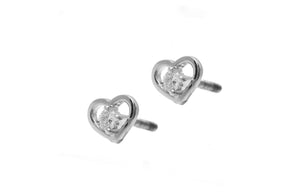 18ct White Gold 0.09ct Diamond Heart Shape Stud Earrings (MCS2254)