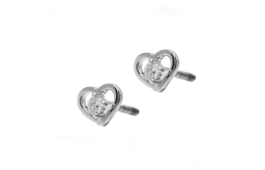 18ct White Gold 0.09ct Diamond Heart Shape Stud Earrings MCS2254