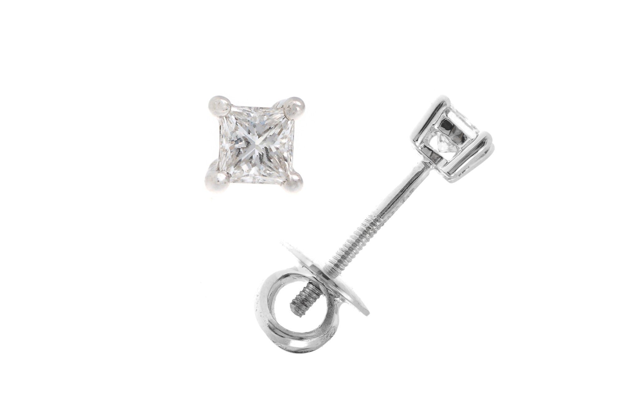 18ct White Gold 0.31ct Princess Cut Diamond Stud Earrings (MCS2276)