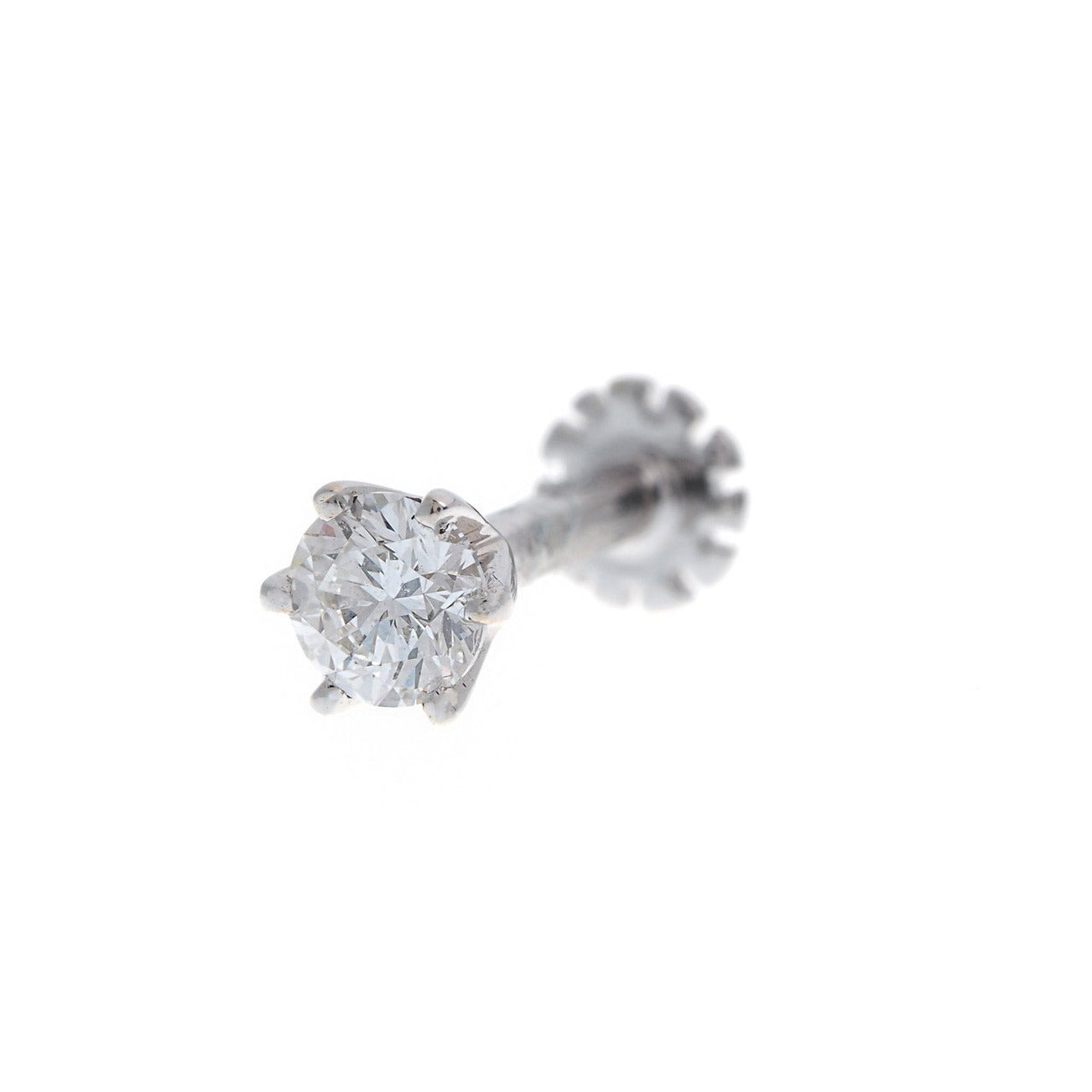 18ct White / Yellow Gold 0.15ct Diamond Screw Back Nose Stud, Minar Jewellers - 1