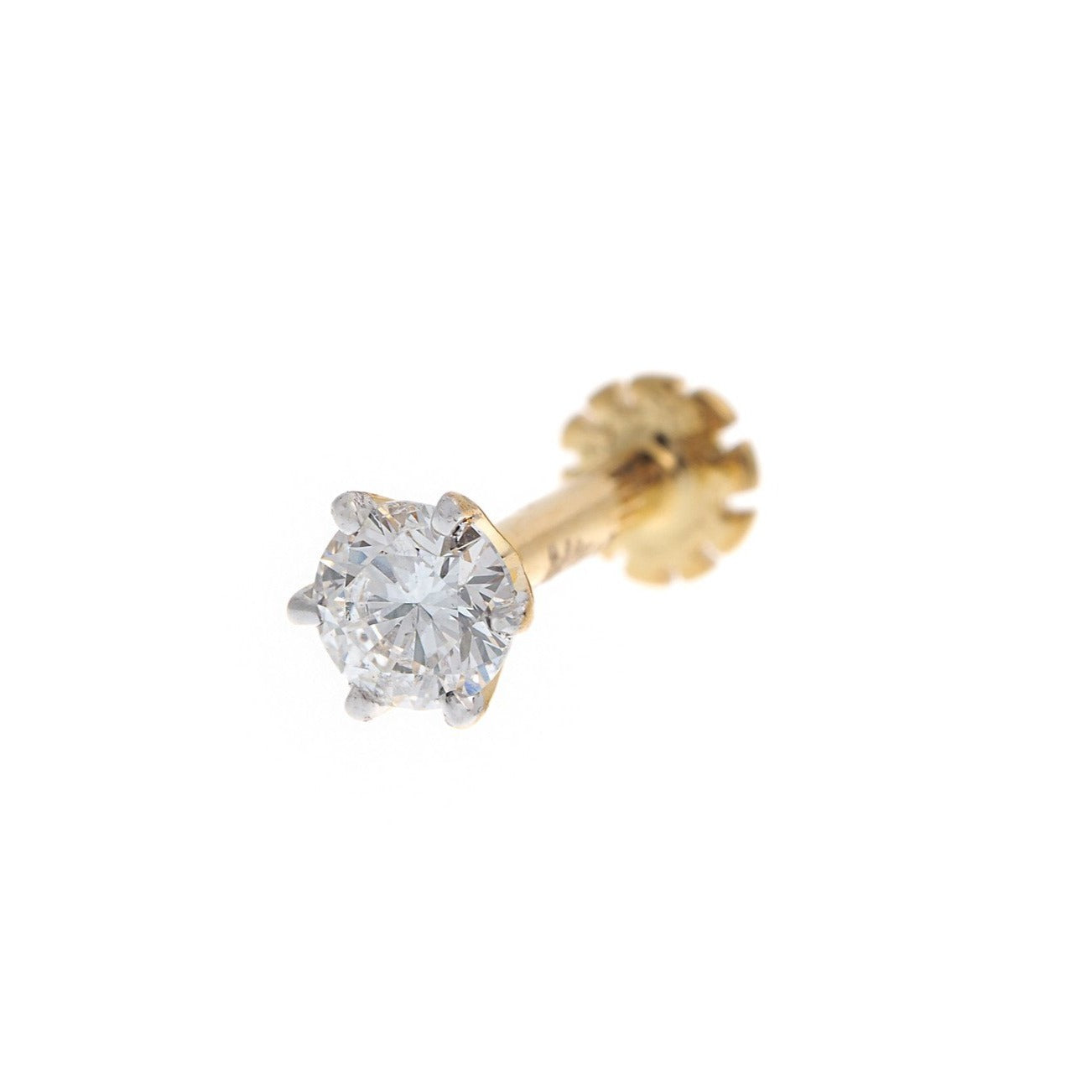 18ct White / Yellow Gold 0.15ct Diamond Screw Back Nose Stud, Minar Jewellers - 2
