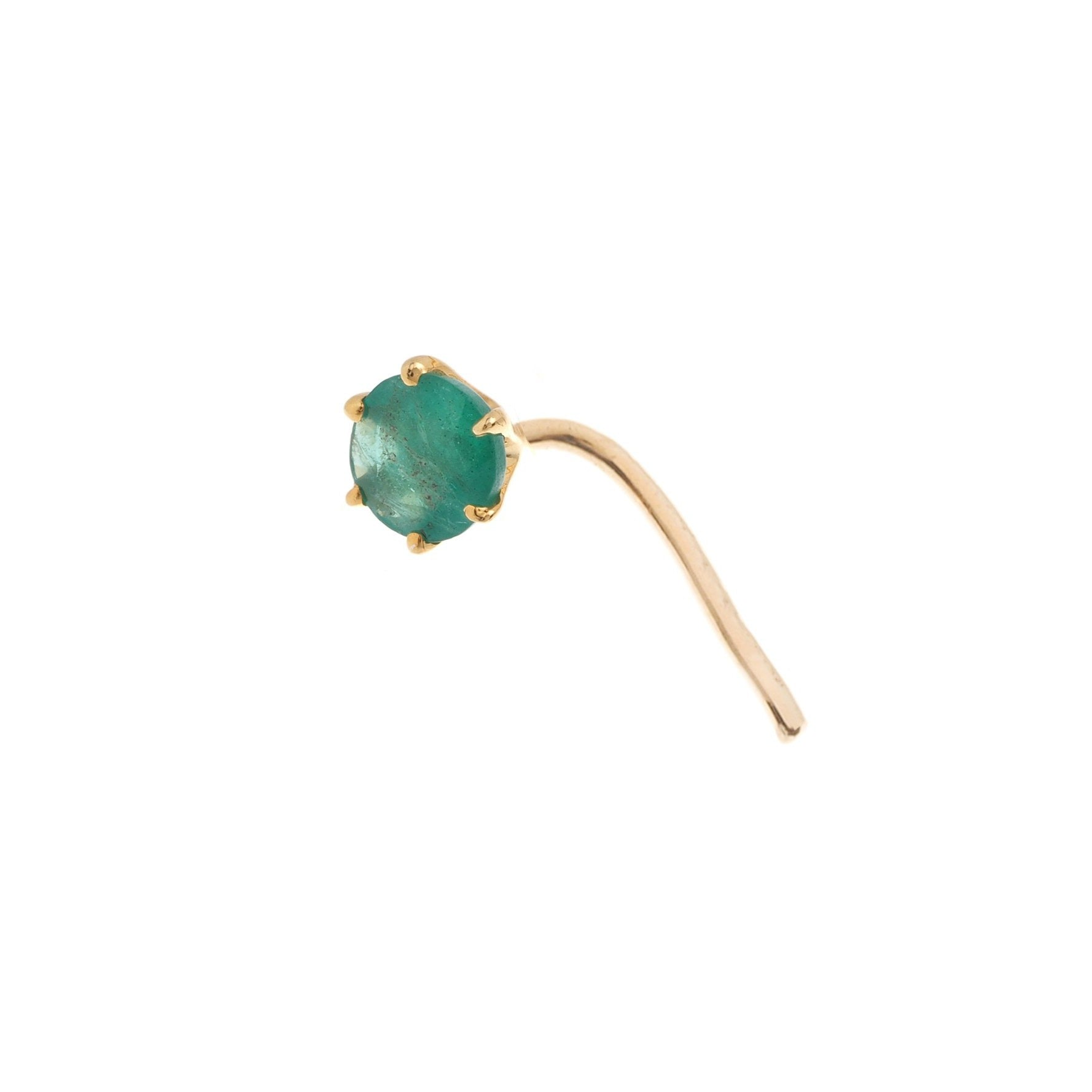 18ct Gold Emerald | Ruby | Sapphire L Shape Back Nose Stud (0.02ct - 0.20ct)