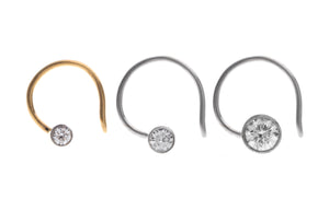 18ct Gold 0.03ct / 0.05ct / 0.10ct Diamond Rub Over Setting Wire Coil Back Nose Stud MCS2510 MCS2511 MCS2507