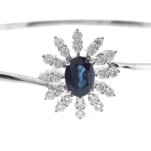 18ct White Gold Diamond and Blue Sapphire Bangle with clasp (MCS2544)