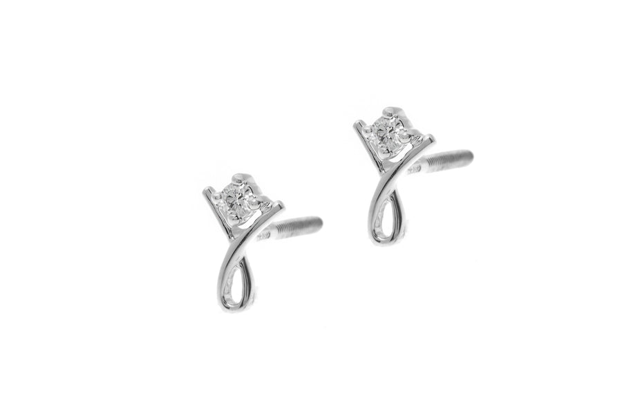 18ct White Gold 0.05ct Diamond Stud Earrings MCS2642