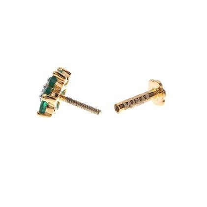 18ct Yellow Gold Diamond and Emerald / Sapphire / Ruby Screw Back Nose Stud MCS2656/7/8