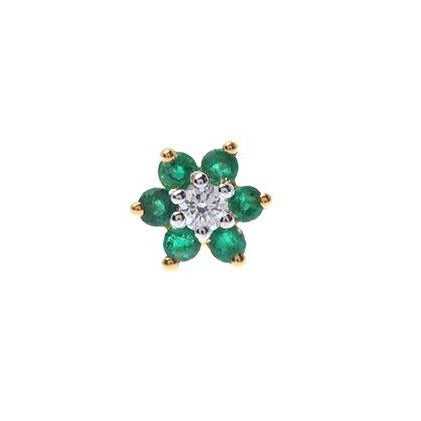 18ct Gold Diamond and Emerald / Sapphire / Ruby / Amethyst / Turquoise Screw Back Nose Stud MCS2656/7/8