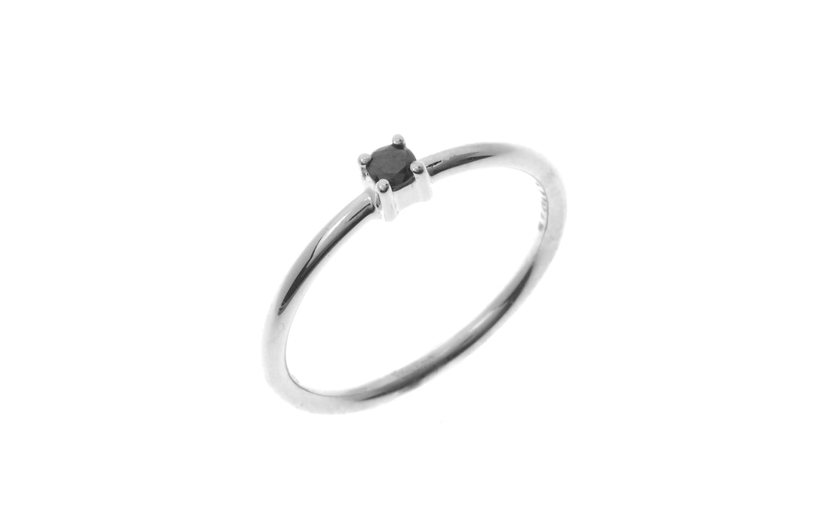 18ct White Gold Black Diamond Children's Ring (MCS2668)