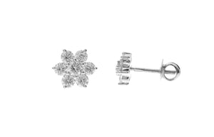 18ct White Gold Diamond Cluster Stud Earrings (MCS2673)