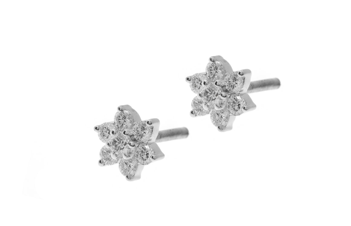 18ct White Gold Diamond Cluster Stud Earrings (MCS2674)
