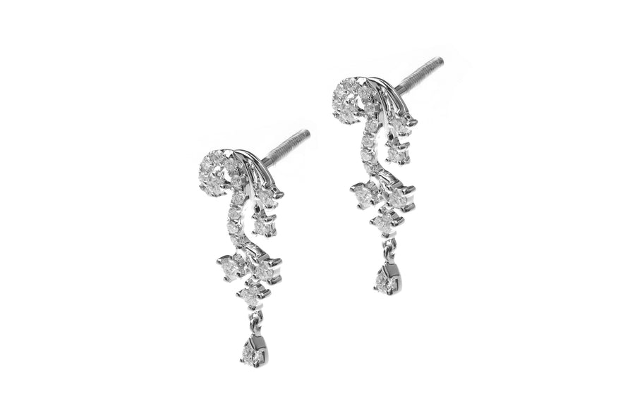 18ct White Gold Diamond Drop Earrings (MCS2676)