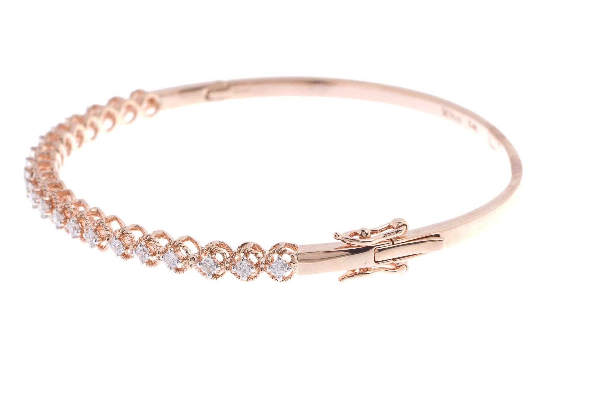 18ct Rose Gold Diamond Bangle with clasp (MCS2720)