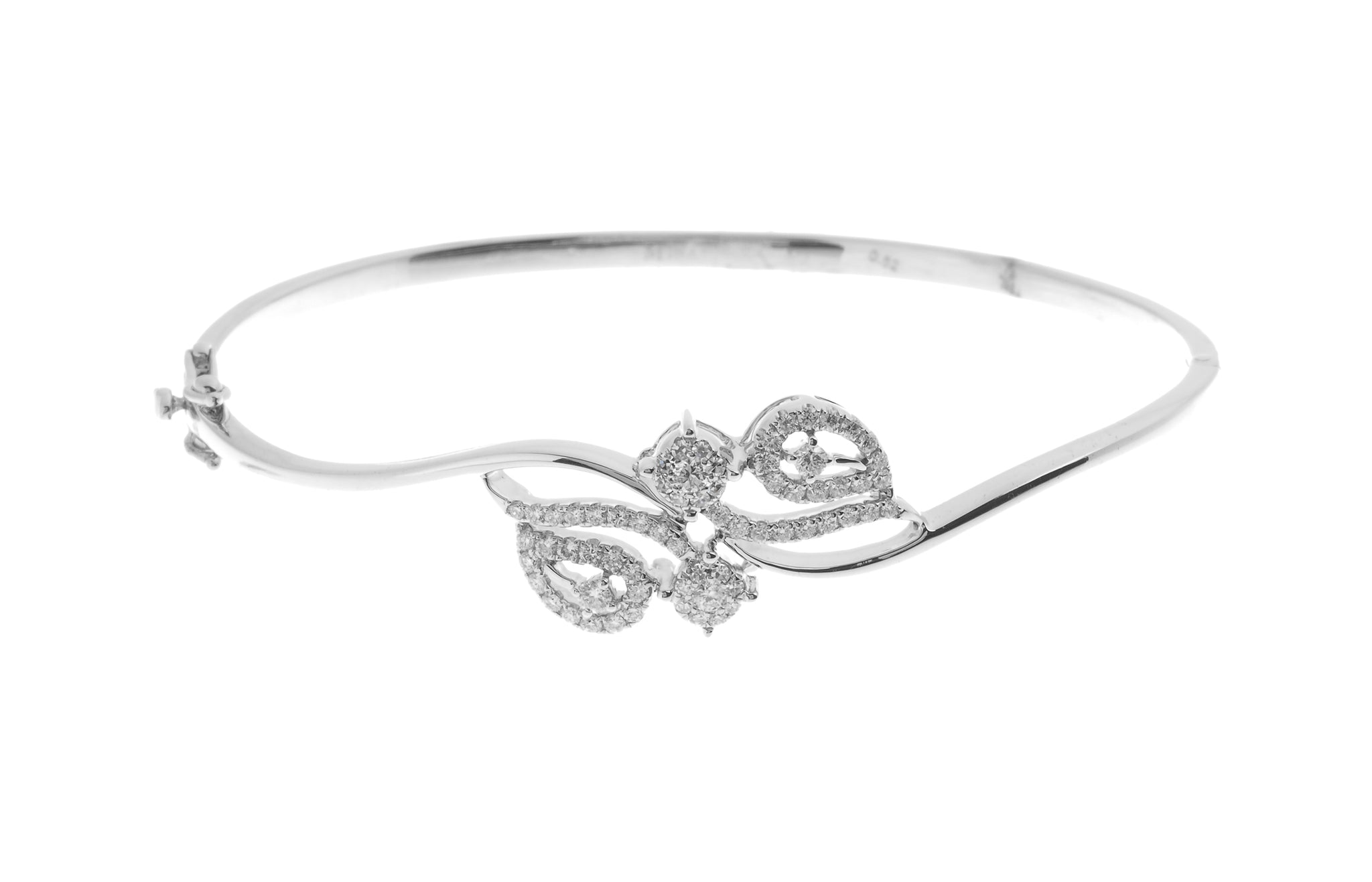 18ct White Gold Diamond Bangle with clasp (MCS2723) - Single
