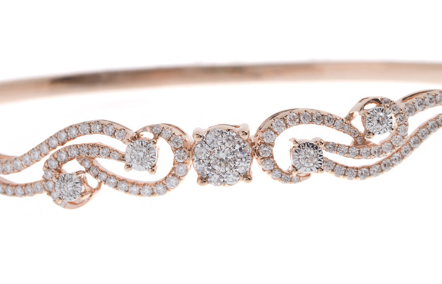 18ct Rose Gold Diamond Bangle with clasp (MCS2724) - Single
