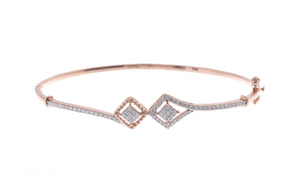 18ct Rose Gold Diamond Bangle with clasp (MCS2731) - Single