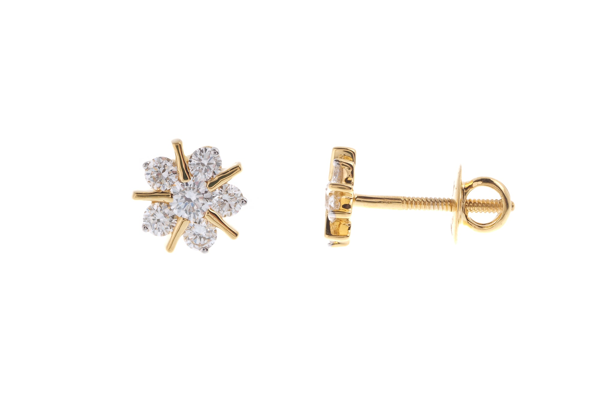 18ct Yellow Gold 0.36ct Diamond Cluster Stud Earrings (MCS2738)