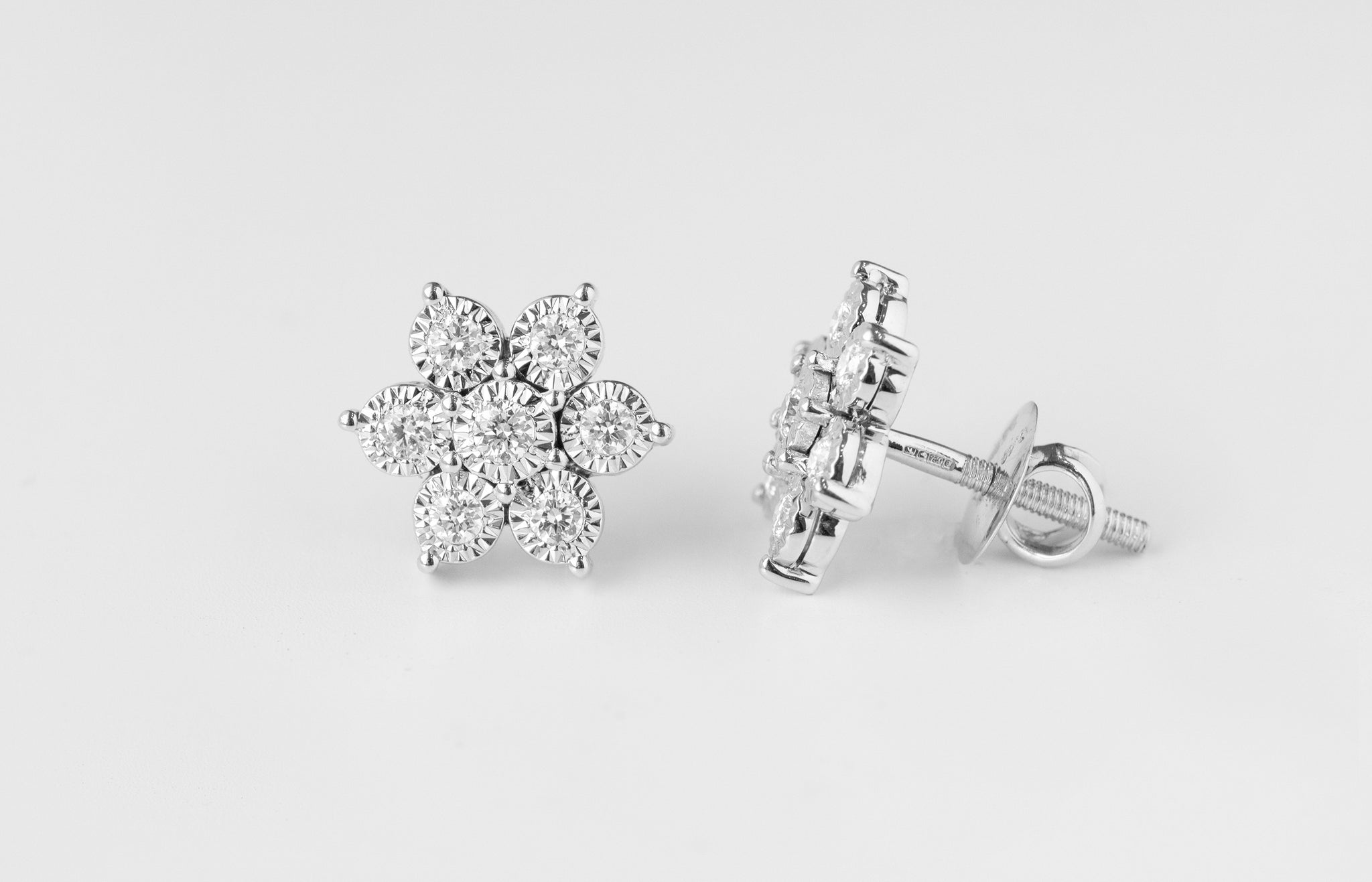 Diamond Cluster White Gold Stud Earrings MCS2756