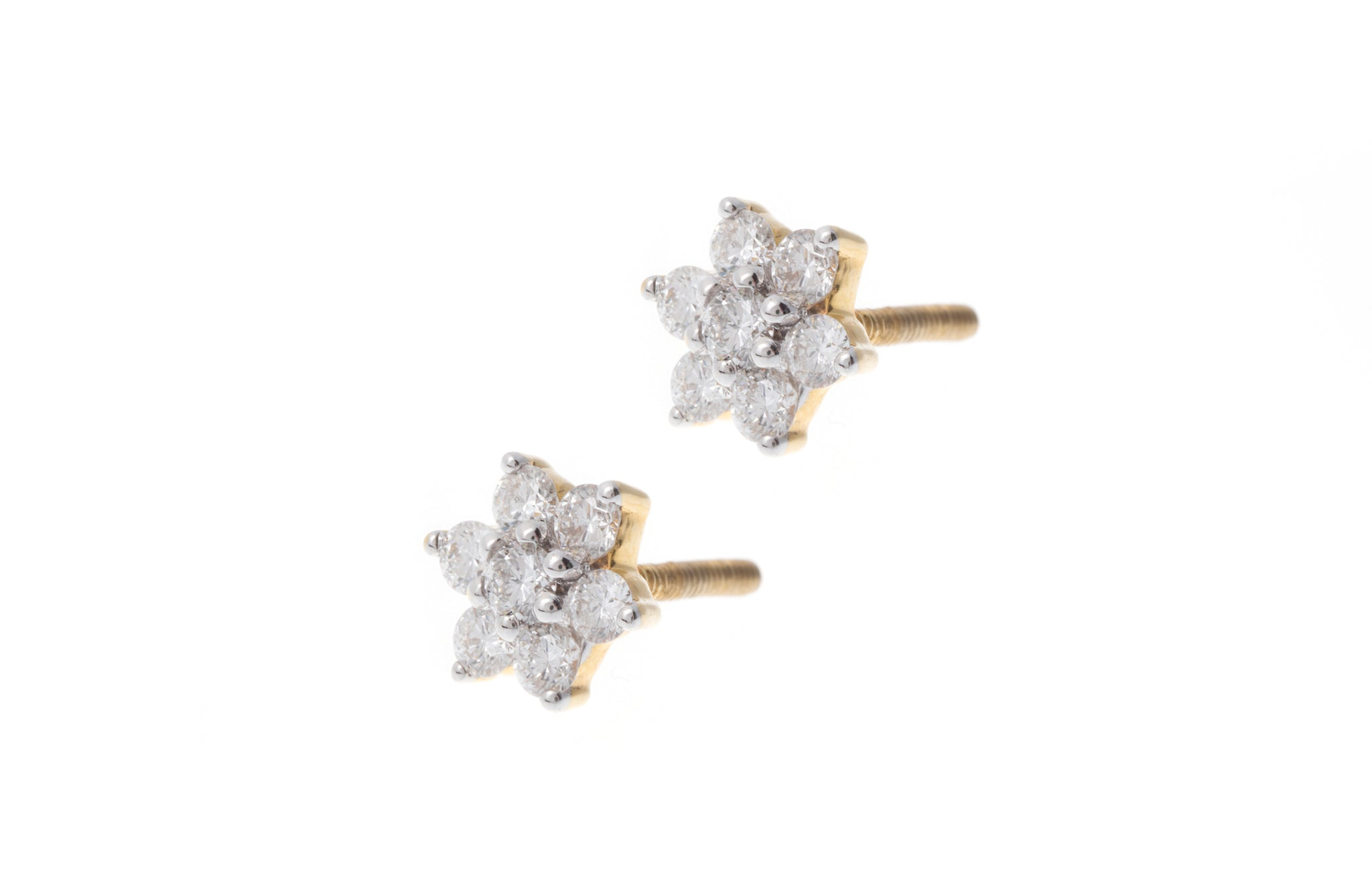 18ct Yellow Gold Diamond Flower Design Ear Studs MCS2769