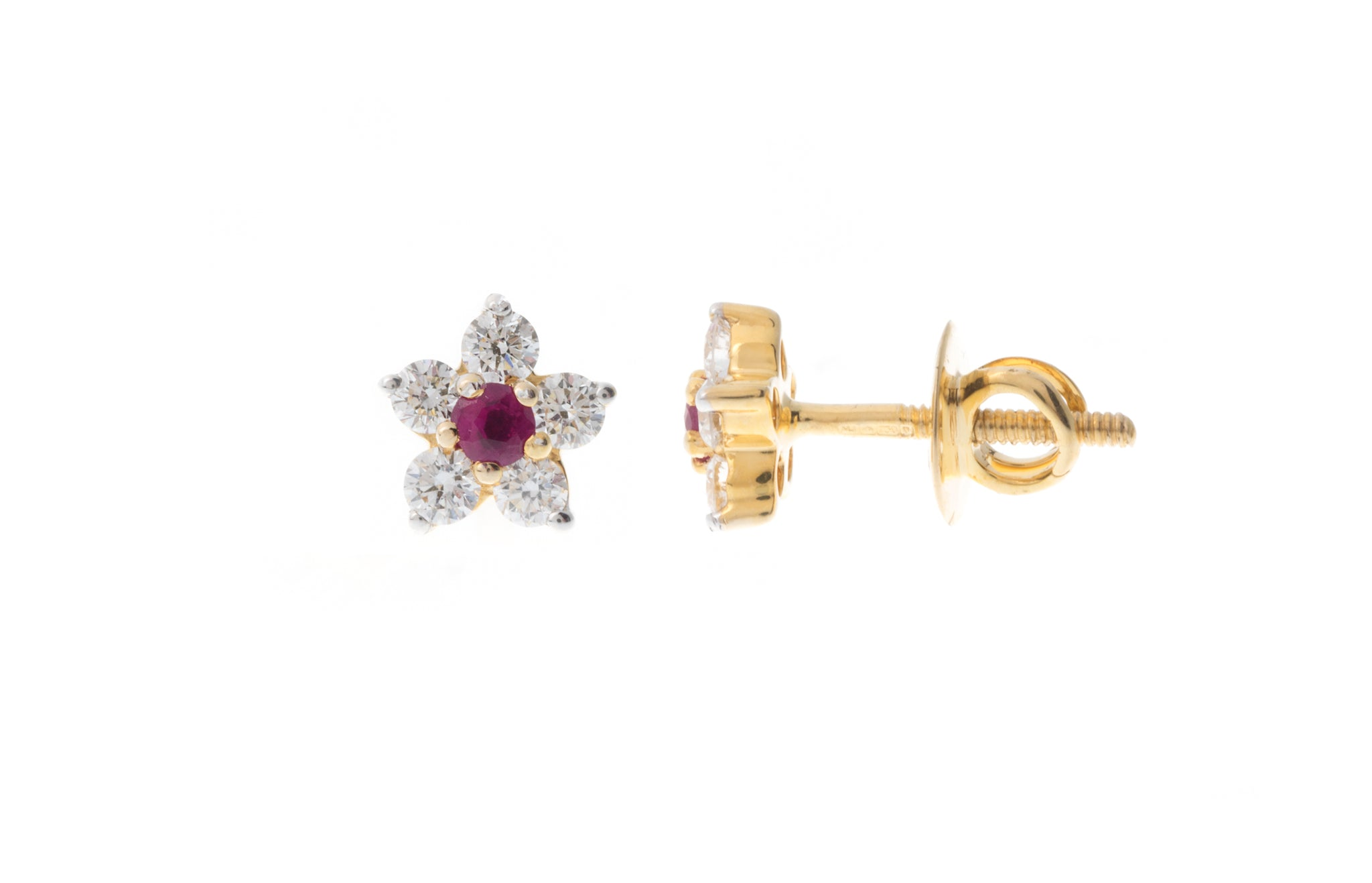 18ct Yellow Gold Diamond and Ruby Flower Design Ear Studs MCS2771