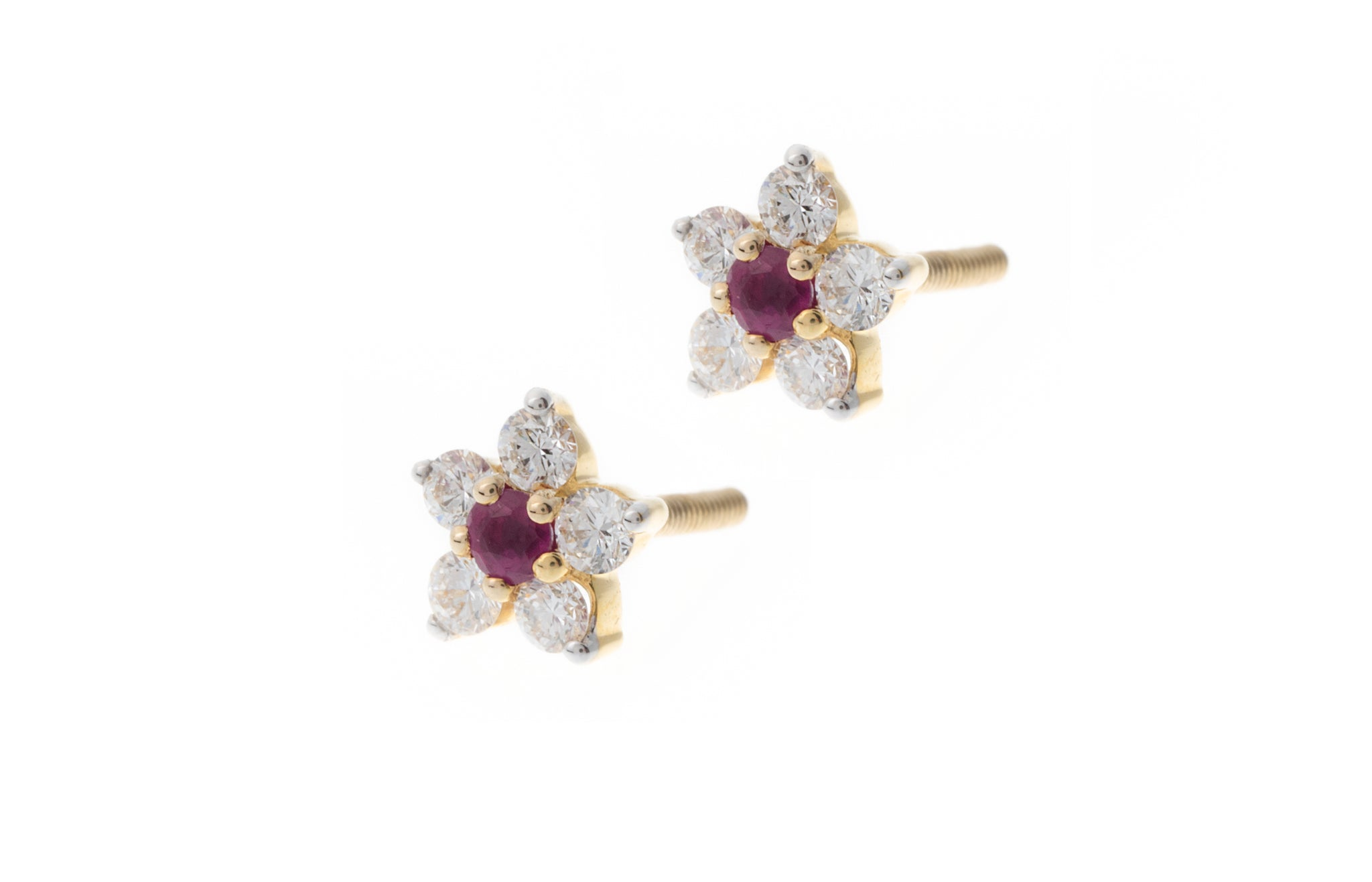 Diamond and Ruby Stud Earrings Round Brilliant 18ct Gold MCS2771