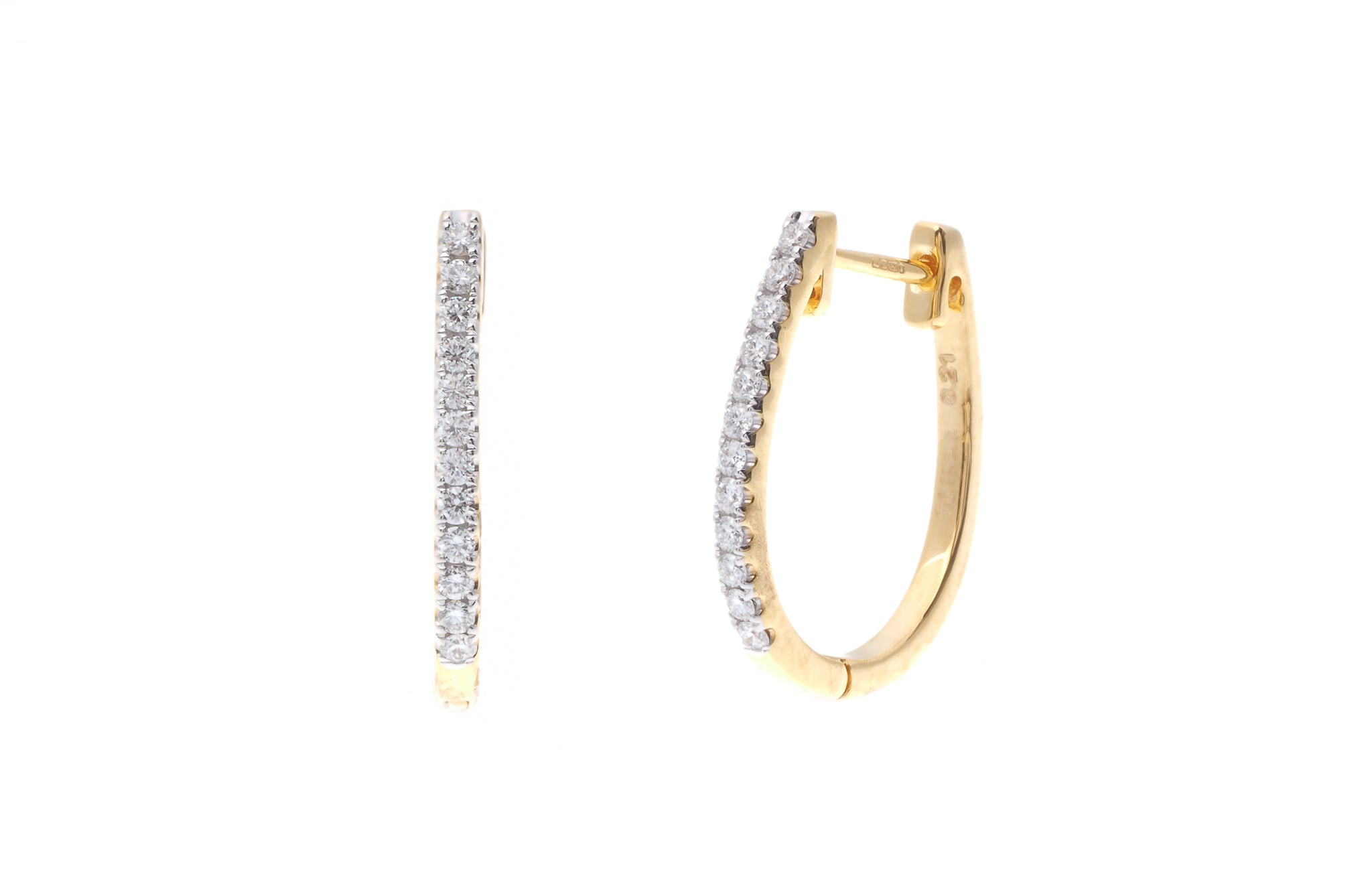 18ct Yellow Gold 0.21ct Diamond Hoop Earrings (MCS2777)