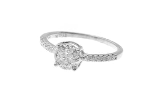 18ct White Gold Diamond Cluster Engagement Ring (MCS2780)