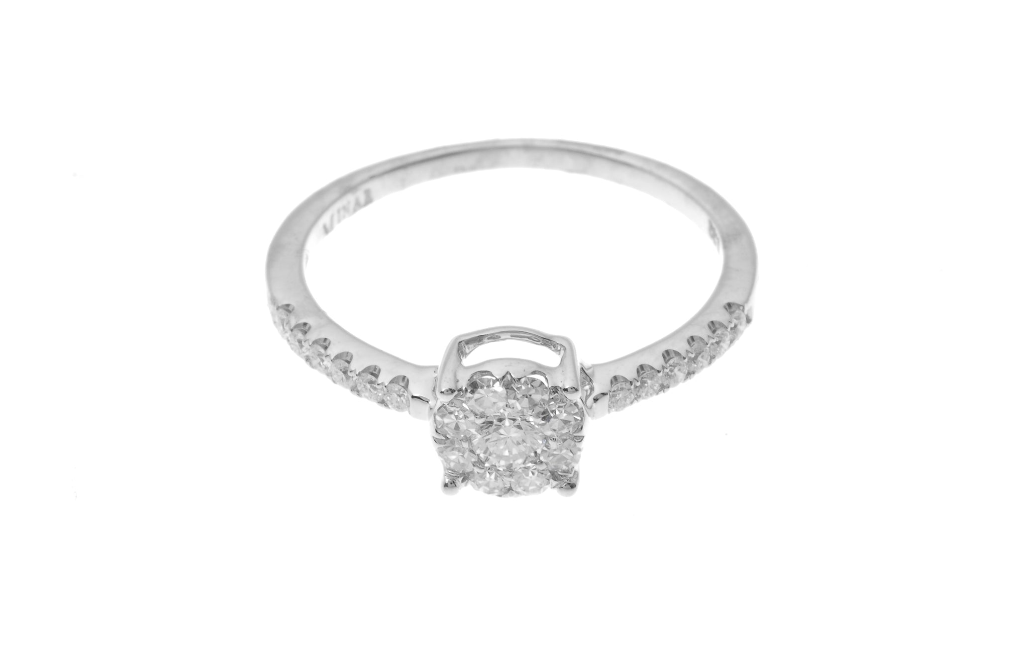 18ct White Gold Diamond Cluster Engagement Ring MCS2780