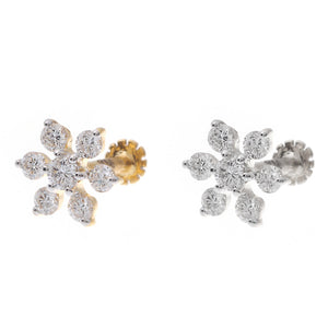 18ct Gold 0.15ct Cluster Diamond Screw Back Nose Stud (MCS2789)