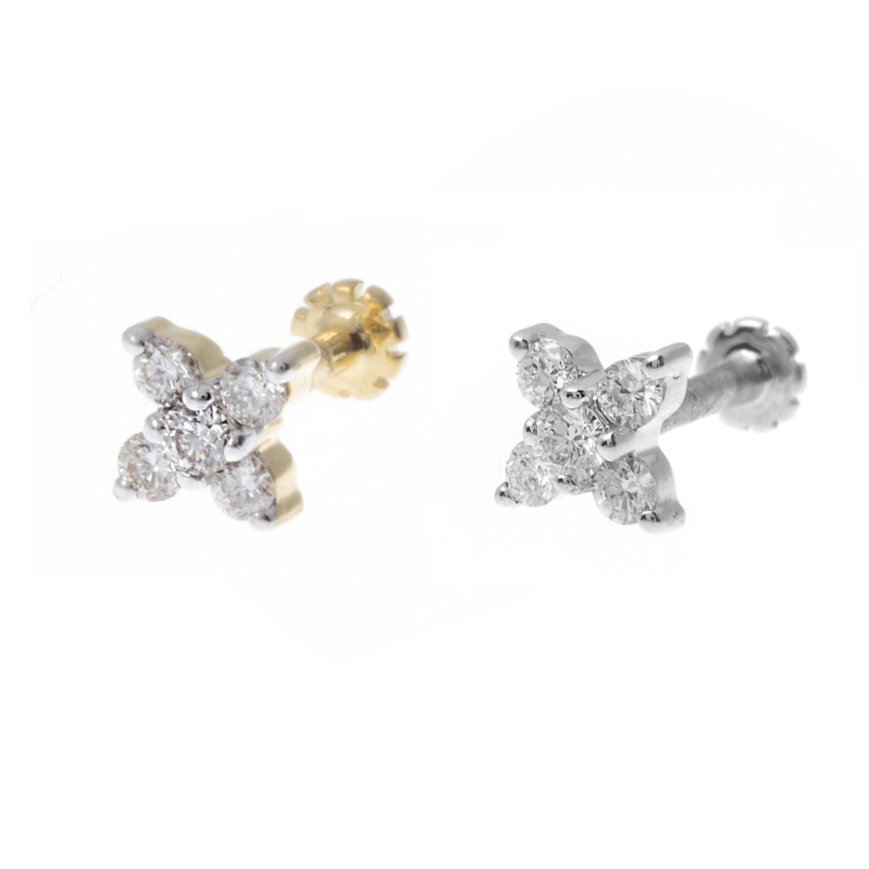 18ct Gold 0.09ct Diamond Cluster Screw Back Nose Stud MCS2796