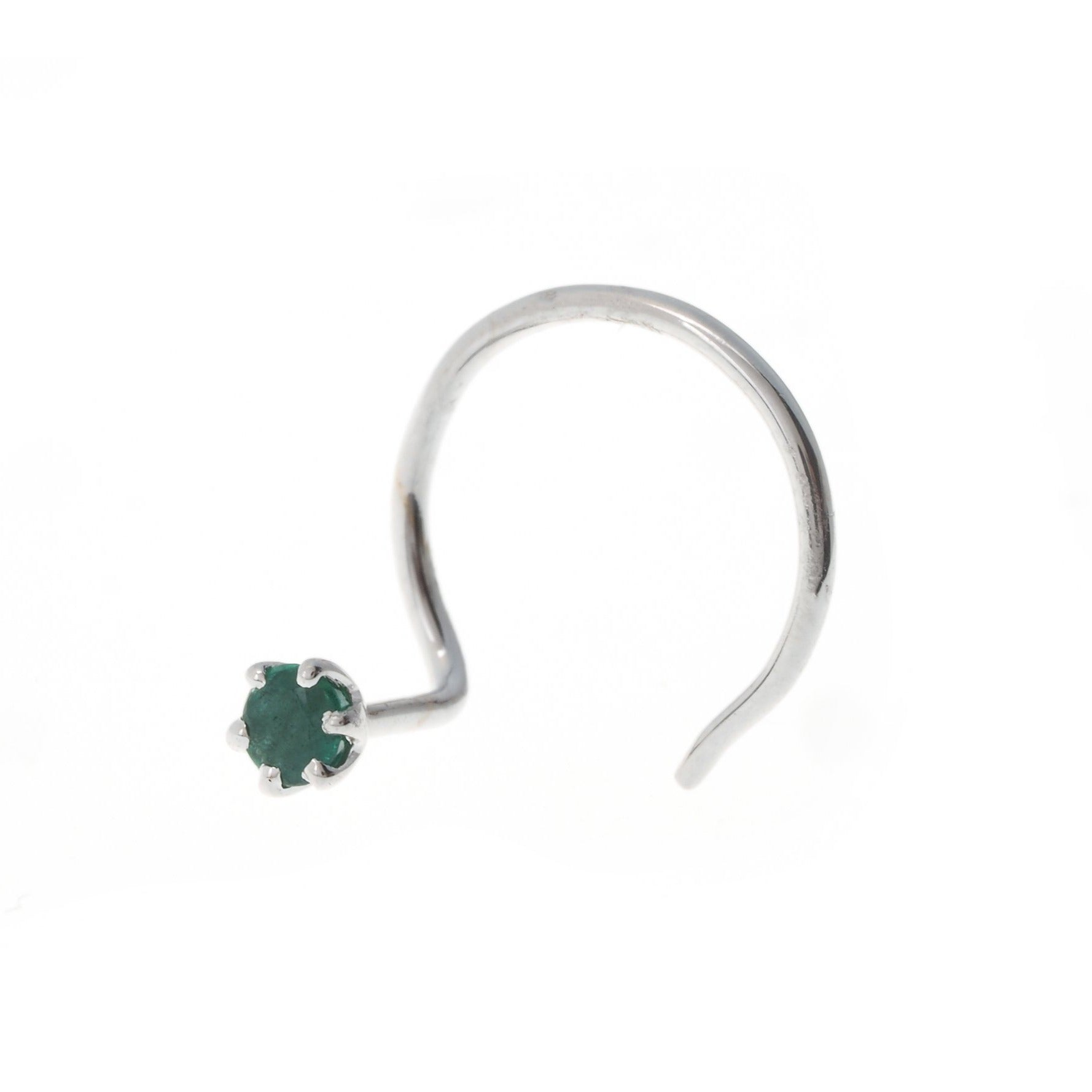 18ct Gold Emerald | Ruby | Sapphire Wire Coil Back Nose Stud (0.02ct - 0.20ct)
