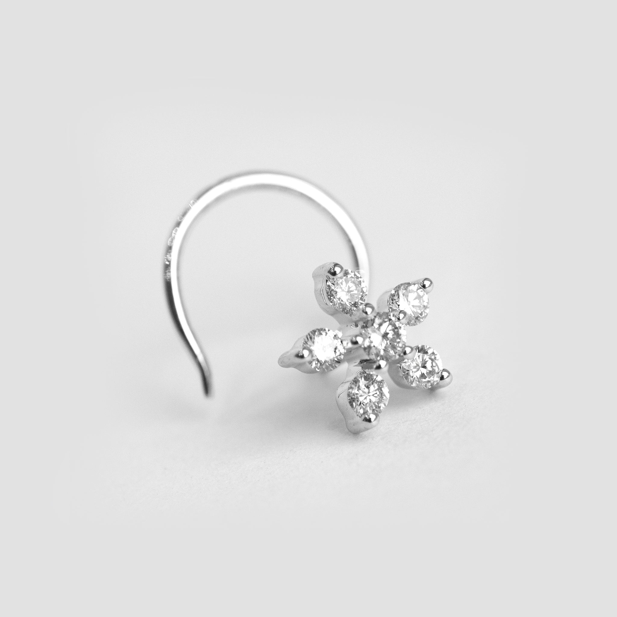 18ct Gold 0.14ct Diamond Cluster Wire Back Nose Stud MCS2809