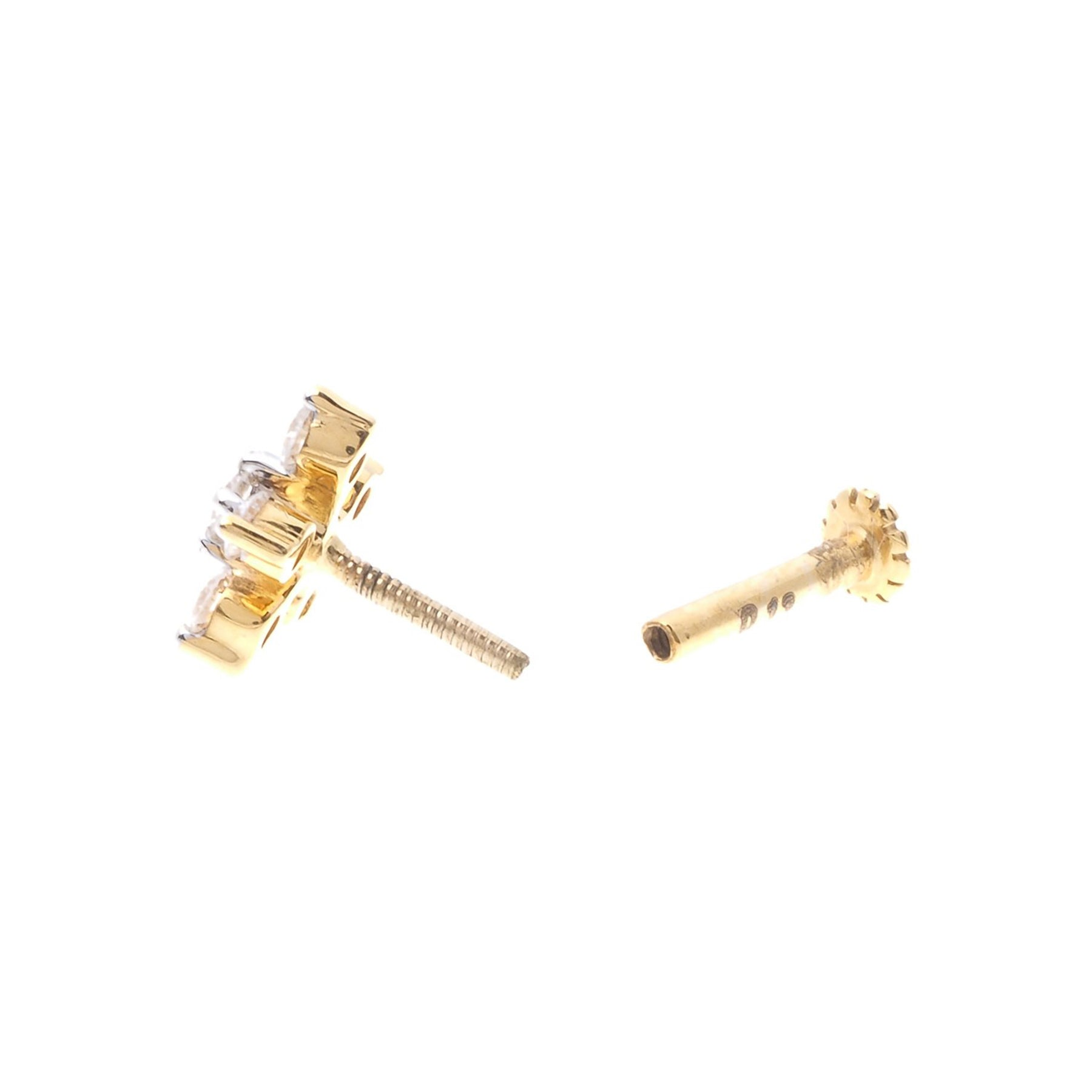 18ct Gold 0.13ct Diamond Cluster Screw Back Nose Stud MCS2809