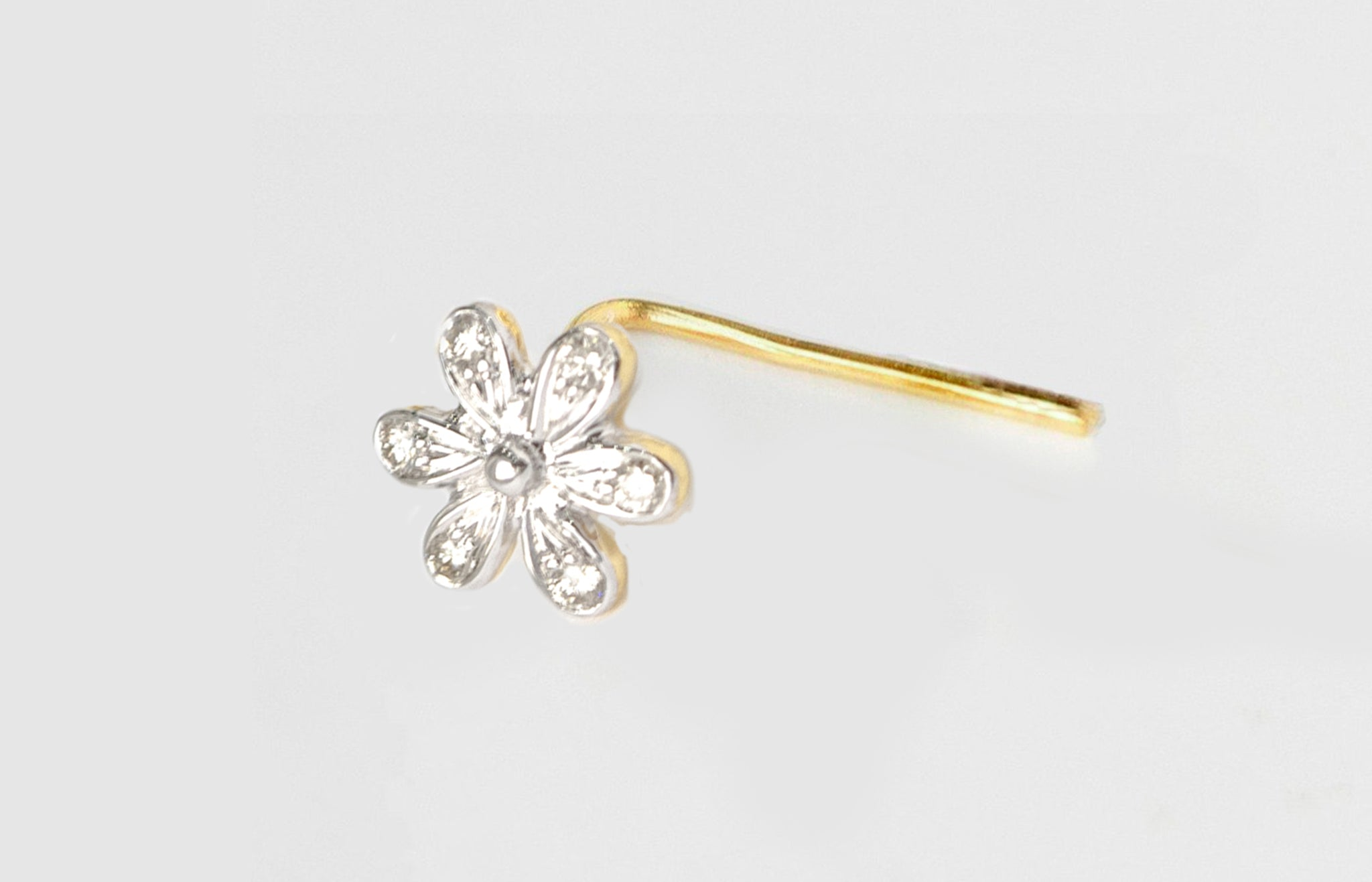 18ct Gold 0.04ct Diamond Cluster L-Shaped Back Nose Stud MCS2810