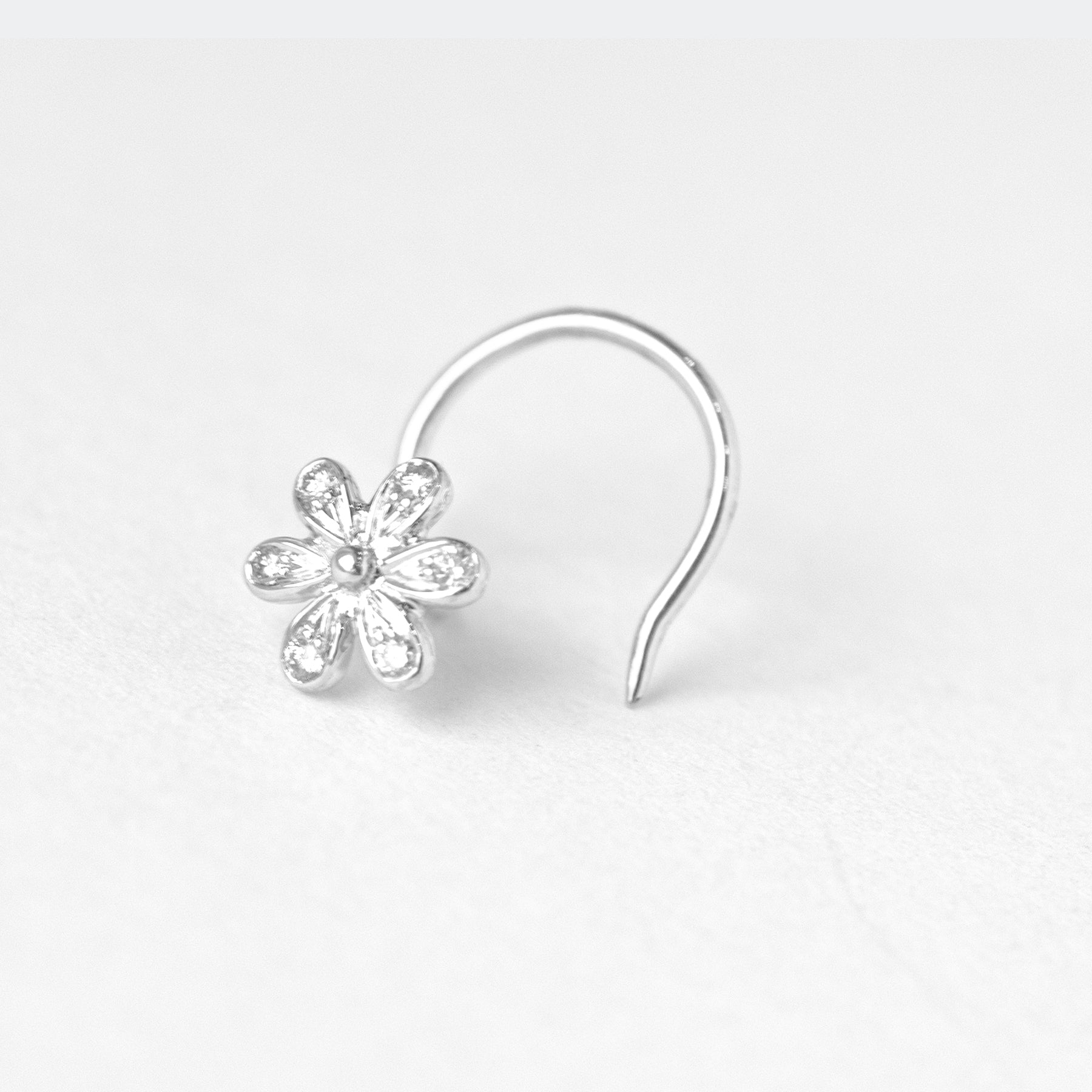 18ct Gold 0.04ct Diamond Cluster Wire Back Nose Stud MCS2810