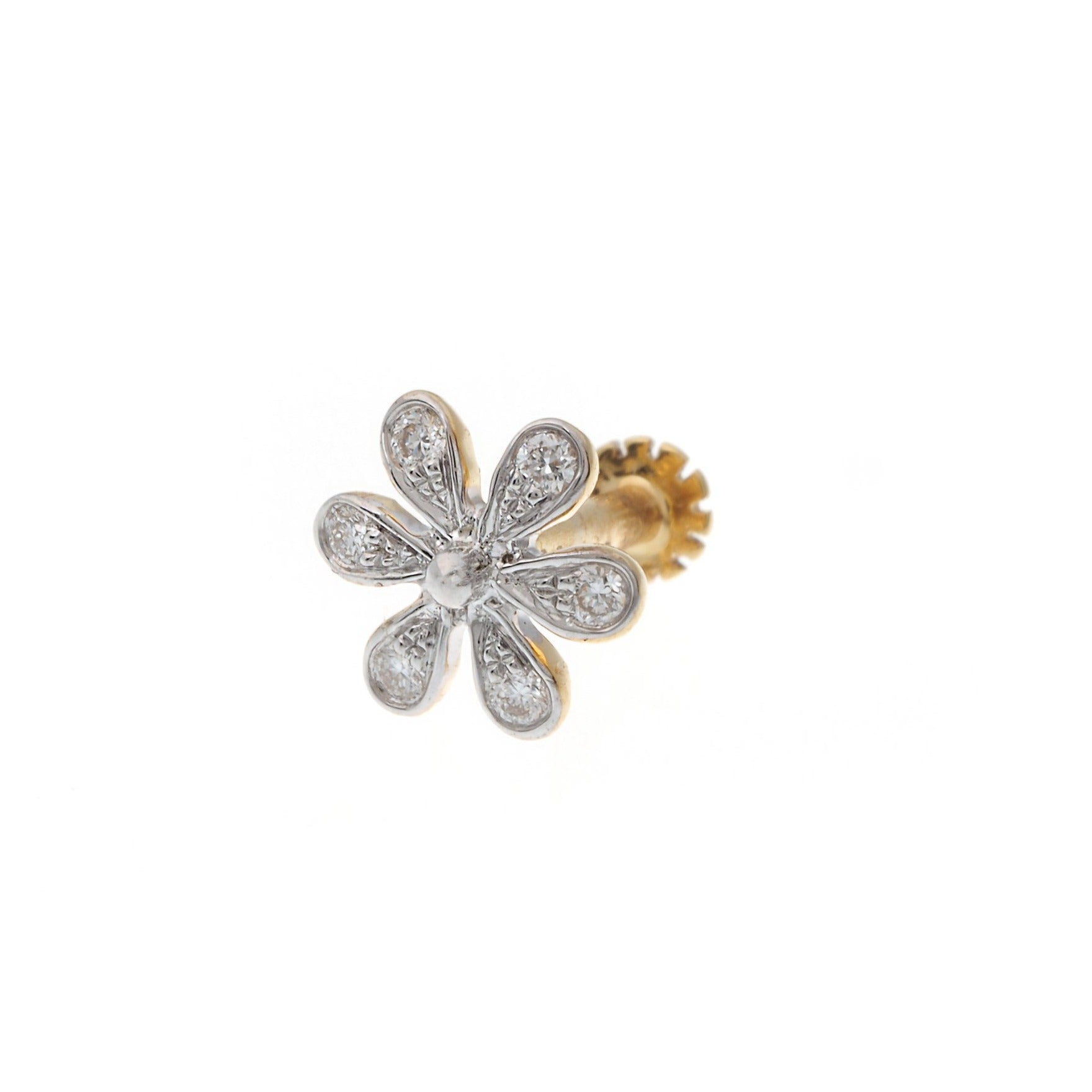 18ct Yellow Gold 0.03ct Diamond Cluster Screw Back Nose Stud (MCS2810)