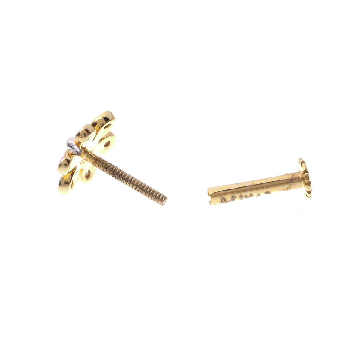 18ct Yellow Gold 0.04ct Diamond Cluster Screw Back Nose Stud (MCS2810)