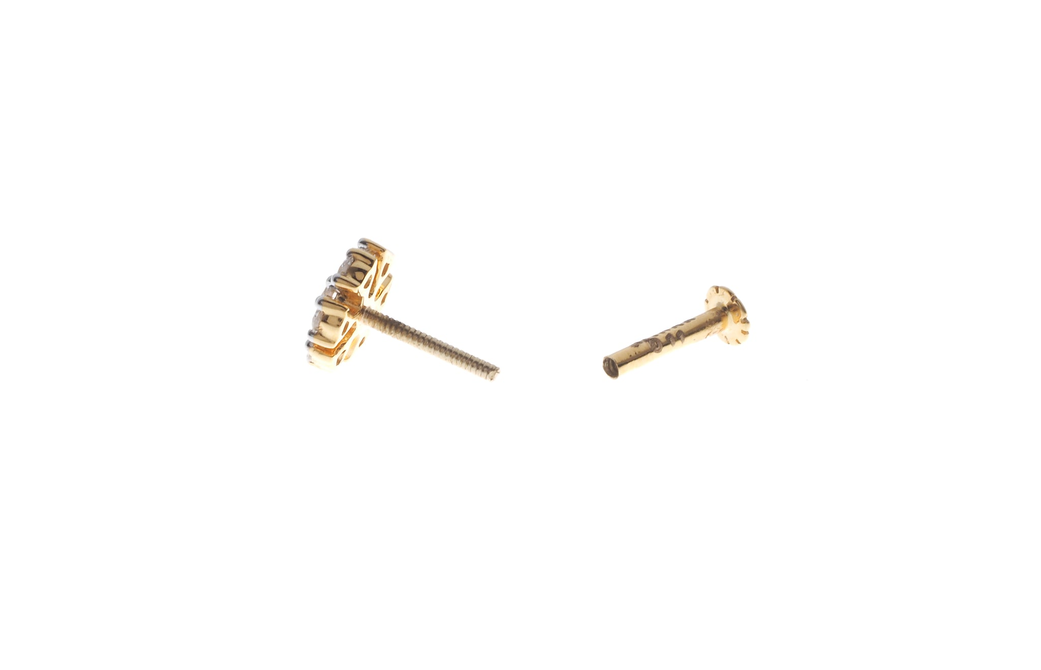 18ct Yellow Gold 0.11ct Diamond Cluster Screw Back Nose Stud (MCS2811)