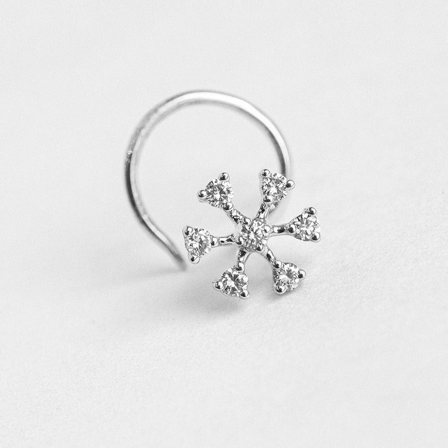 18ct Gold 0.07ct Diamond Cluster Wire Back Nose Stud MCS2812