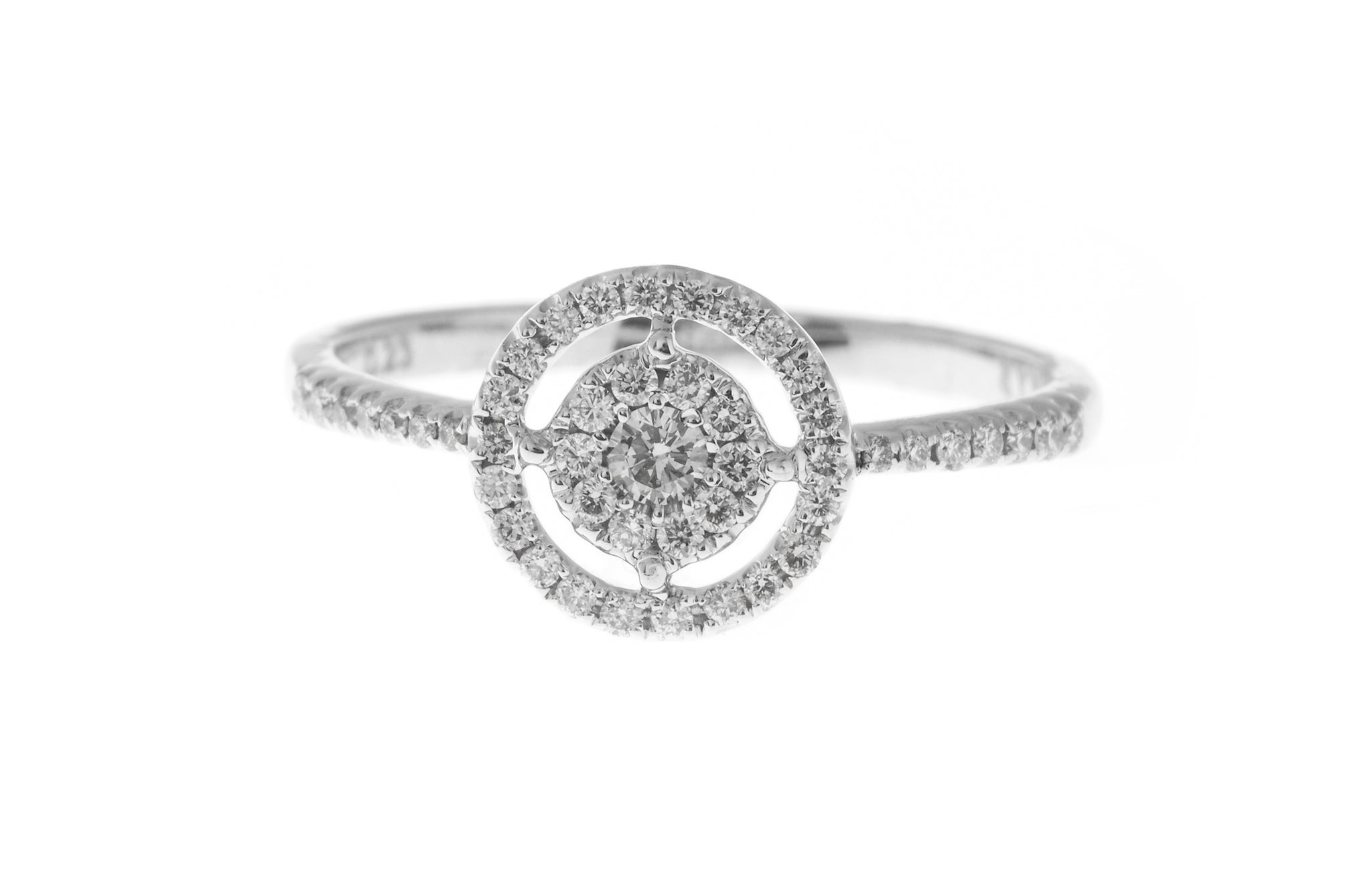 18ct White Gold Diamond Cluster Dress Ring (MCS2825)