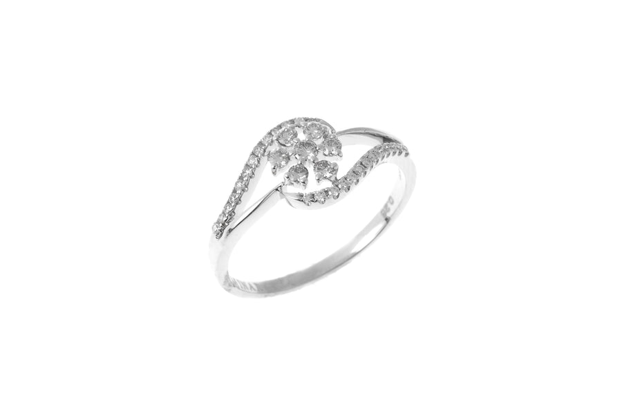 18ct White Gold Diamond Cluster Dress Ring (MCS2829)
