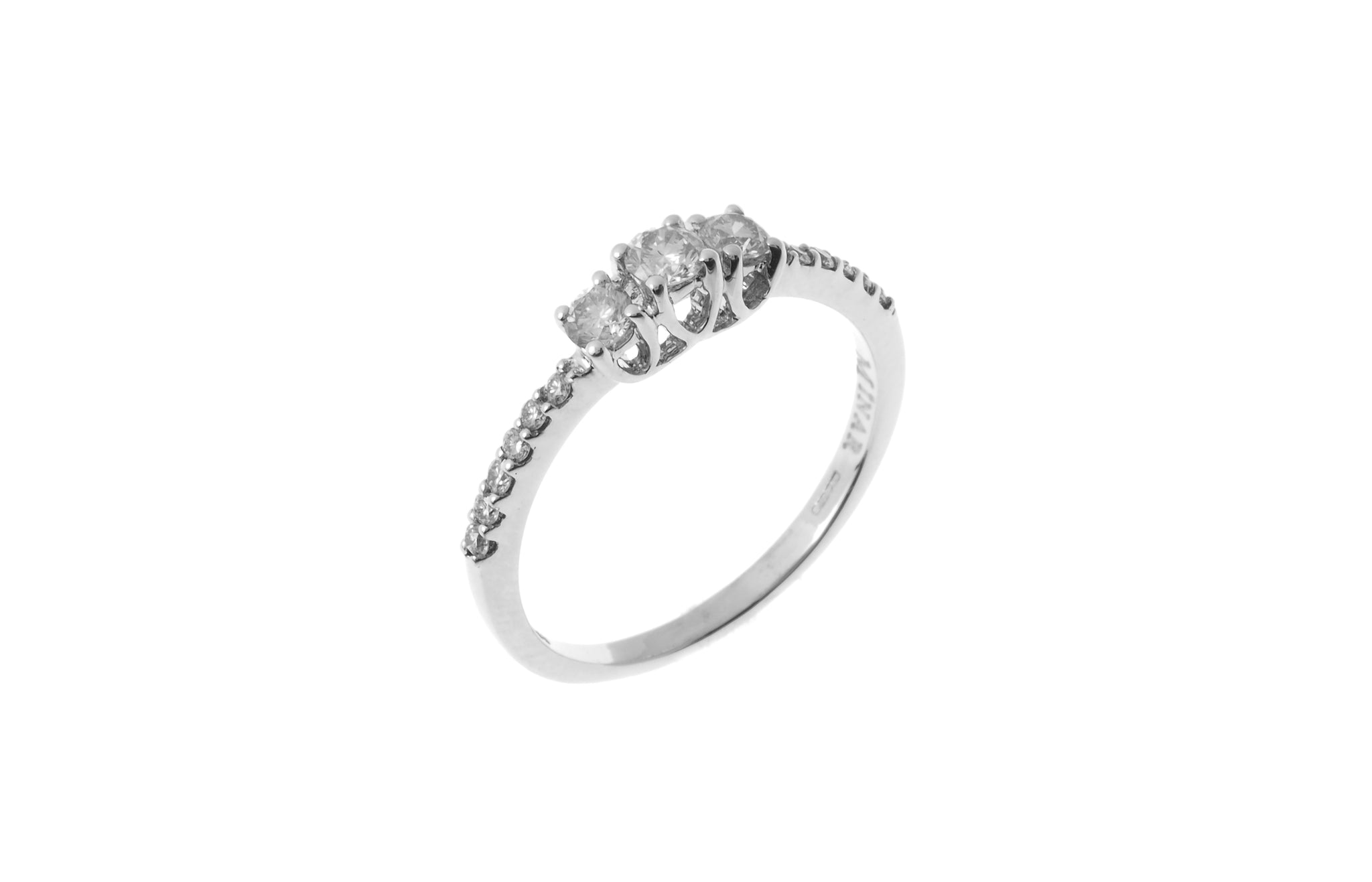 18ct White Gold Diamond Trilogy Ring (MCS2831)