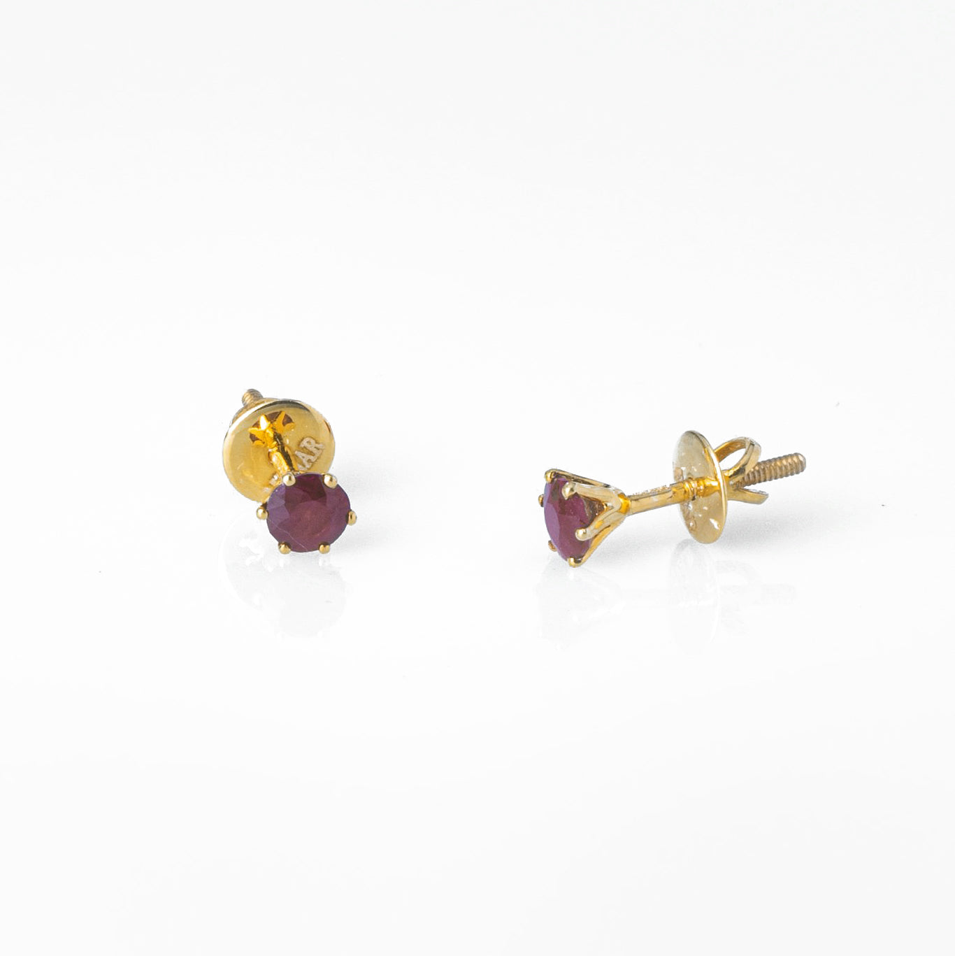 18ct Yellow Gold 0.58ct Round Brilliant Cut Ruby Stud Earrings (MCS3116)