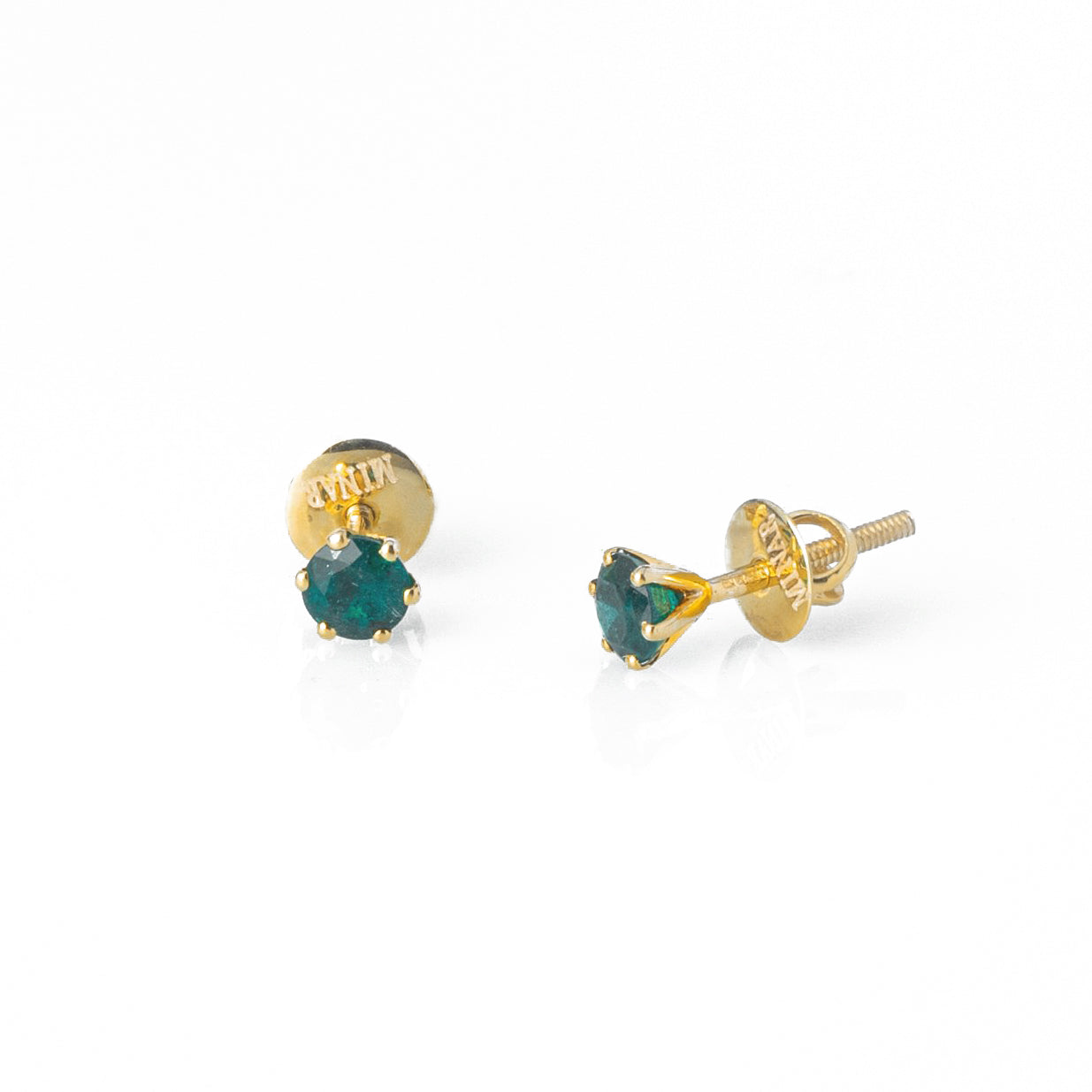 18ct Yellow Gold 0.57ct Round Brilliant Cut Emerald Stud Earrings (MCS3120)